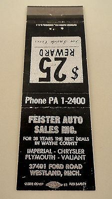 Matchbook Cover ~ FEISTER AUTO SALES INC. Ford Rd Westland MI Front Strike 20 Su