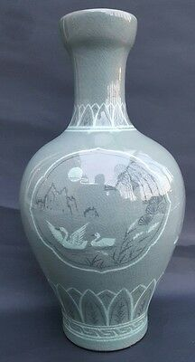 Large Antique Korean Mint Green Celadon Vase