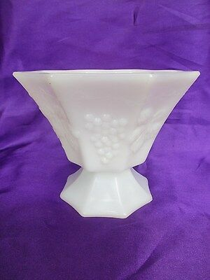Milk Glass Hexagonal Vase with grapes and leaves Fenton?