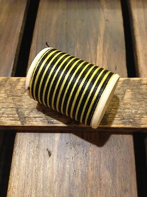 Vintage Gudebrod Size E Black Yellow Space Dyed Rod Winding Thread 400 Yards