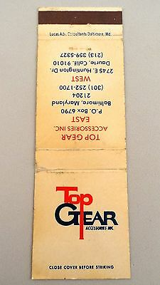 Matchbook Cover ~ TOP GEAR ACCESSORIES INC. Baltimore MD / Daurte CA Front St 20