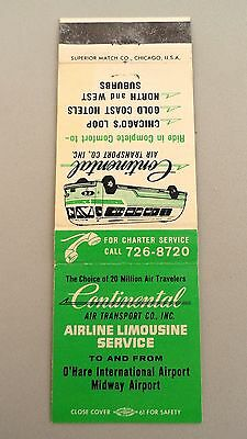 Matchbook Cover ~ CONTINENTAL AIR TRANSPORT CO. INC. Chicago IL Front Strike 20