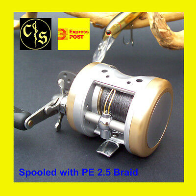 V75 Round Baitcaster Reel, Casting, Trolling, 3+1 S/S BB, 5.5:1, WITH BRAID