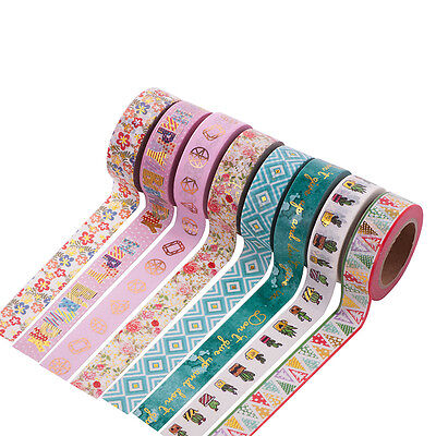Metallic Gold Cartoon Pattern Floral Washi Paper Tape DIY Scrapbook Sticker New