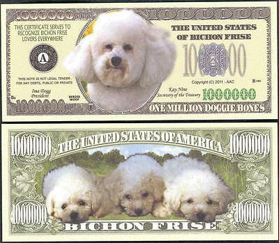 Bichon Frise Dog Version 1 Collector Novelty Bill/money Single With Holder!