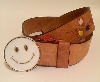 Vtg Retro Belt Tooled Leather Flowers Happy Smiley Face Buckle 32 Groovy 1970's