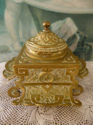 Antique vintage Victorian late 1800s English Ink Well inkwell writing brass
