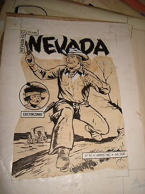 Red Rider Cowboy Western Pulp Silver Age Overseas Cover Original Art Work