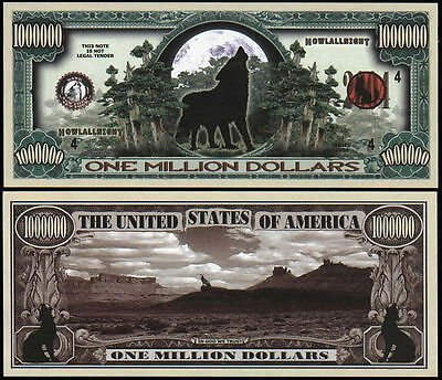 Wolf Dog Collector Novelty Bill/money Single With Holder!