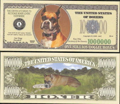 Boxer Dog Collector Novelty Bill/money Single With Holder!