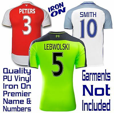 Iron On Personalised Custom Made Cad Cut Premier Sports Number Letter Transfers