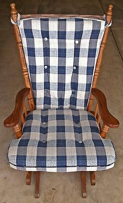 Glider Rocker Nursery Chair Oak Wood Removable Blue Cushions LOCAL PICK-UP ONLY