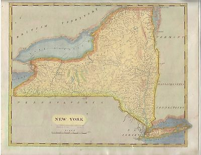 1812 Original Aaron Arrowsmith S. Lewis Map New York NY recent coloring