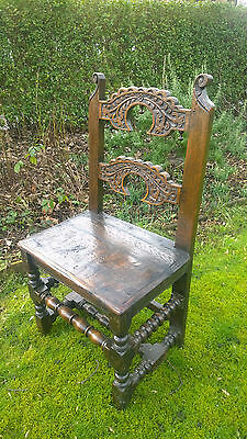 A 17th Century Joined Oak Backstool / Side Chair