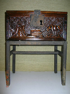 VINTAGE  CARVED  WOOD  CHEST - TRUNK  w/ CAST IRON  BASE  STAND