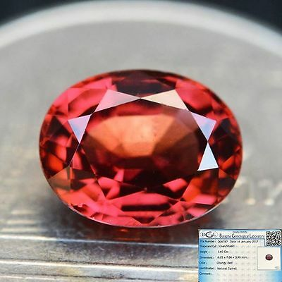 BGL Certified 1.60ct Unheated Natural Oval Orangey Red Spinel Myanmar #A