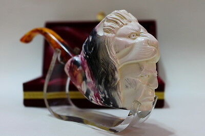 Special Colored Rare Lion & Hunter Meerschaum Tobacco Pipe Double Waxed W/Case