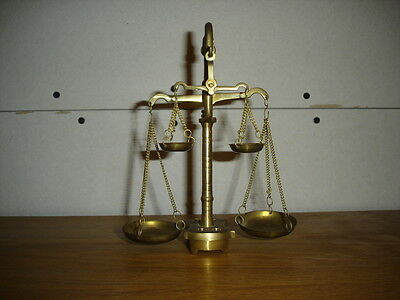 Vintage  Brass  Balance/ Apothecary Scales Double Arms & Bowls And Some Weights