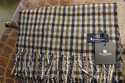 Aquascutum Lambswool Scarf In Brown & Blue £44 Off Rrp!!!!!