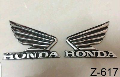 X2 Motorcycle Chrome 3D ABS Fuel Tank Emblem Decal Sticker Custom For Honda Wing
