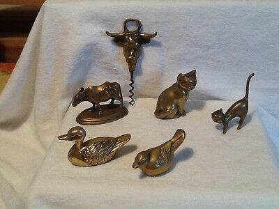 A Collection Of Small Vintage Brass Animal Ornaments & A Corkscrew