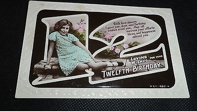 """Vintage Postcard """"loving Wishes On Twelfth Birthday"""" (Real Photograph)"""