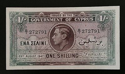 CYPRUS 1/- ONE SHILLING BANK NOTE 1947 p20 EF