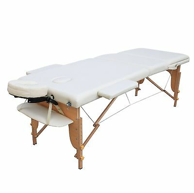 Portable Wooden 3 Fold Massage Table Bed Chair Body Therapy Waxing 70cm