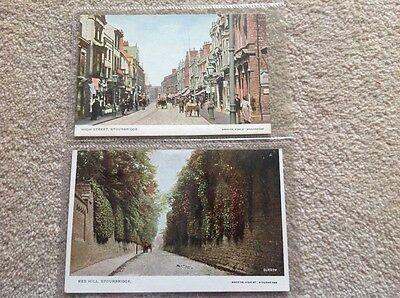2 Early Colour Postcards Stourbridge Worcs, Red Hill & High Street