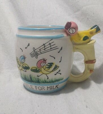 1950s ceramic child's vintage Whistle Mug. Very Kitsch collectable