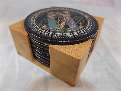 Vintage Glazed Ceramic Drink Coasters in Caddy ~ Hand Made in Greece