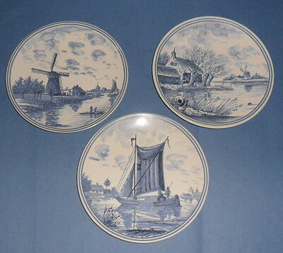 3 Blue & White Poole Pottery Plates Norfolk Broads Pattern