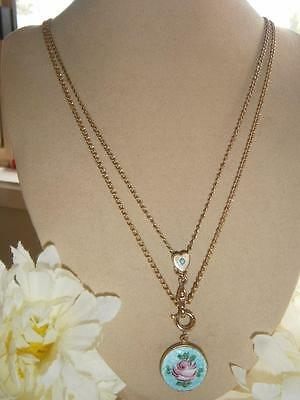 Antique Victorian Gold Gf Heart Slide Watch Chain Rose Guilloche Locket Necklace