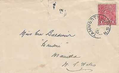 E 1215 Tamworth NSW  May 1918 1d KGV rough paper stamp on cover to manilla NSW