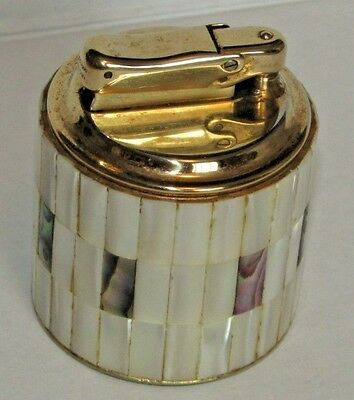 Vintage Colibri Table Lighter Beautiful Mother Of Pearl Wrap