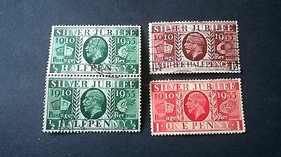 King George V Silver Jubilee 1910-1935 x4 Brown, Red, Green Stamps Good