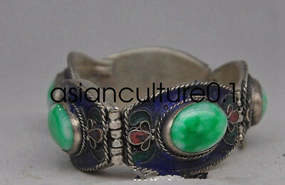 Old Chinese Tibetan silver & copper inlaid jade bracelet LMQ326