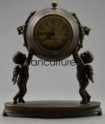 Old Decorated Copper Carved Pair Child Held Mechanical Table Clock LMQ303