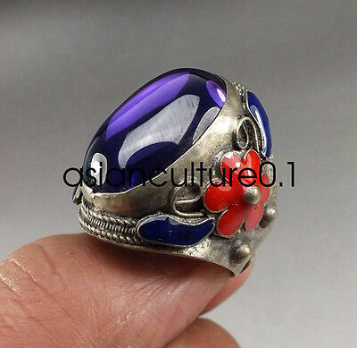 Chinese zirconia Tibet Silver Cloisonne FLOWER adjustable Ring LMQ381