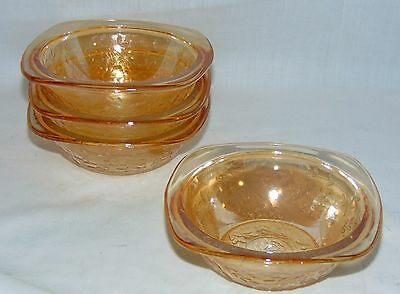 "5 Jeannette FLORAGOLD IRIDESCENT *4 1/2"" SQUARE BOWLS*"