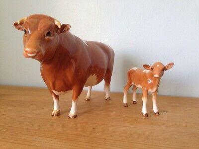Vintage Beswick Guernsey Bull And Calf