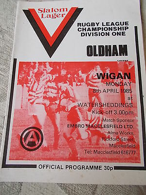 8.4.85 Oldham v Wigan rugby league programme