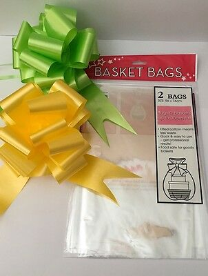 Cellophane Hamper Basket Bags 2 Per Pack Plus 2 FREE Pull Bows, YELLOW & GREEN