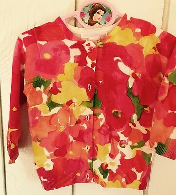 Janie And Jack Girls Size 6-12 Months Multicolor Floral Cardigan Sweater Spring