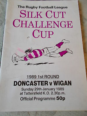 29.1.89 Doncaster v Wigan rugby league programme Challenge Cup