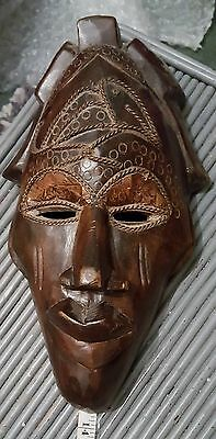 Ethnic African  Hand Carved Wooden Face Mask Wall Plaque 13""