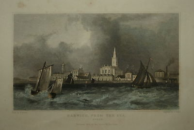 Harwich From The Sea Essex 1831 Genuine Antique Print