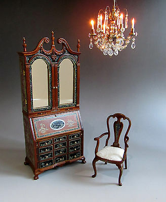 1:12th Scale ~ Walnut LUXURY CHIPPENDALE SECRETAIRE & CHAIR SET~ for Dolls House