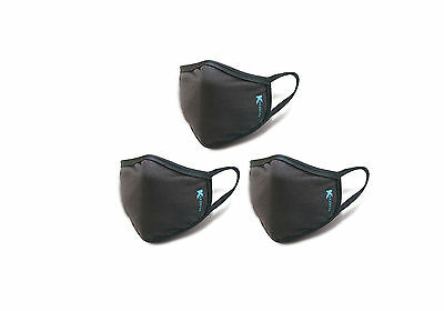 Anti-Dust/Pollen Breathable Face & Mouth Mask - Black by Kezzled (Pack of 3)