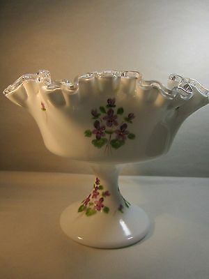 Fenton Silver Crest Footed Milk Glass Compote Hand Painted Violets Frilly  6x7.5